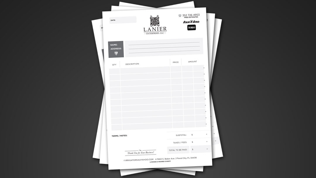 Lanier Enterprise Invoice